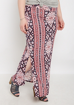 Plus Boho Striped Side Split Maxi Skirt