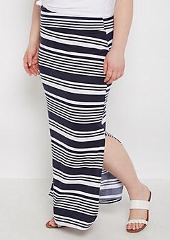 Plus Mixed Stripe Side Split Maxi Skirt