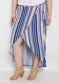 Plus Vertical Striped Jersey Wrap Skirt
