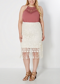 Plus Ivory Crochet Medallion Skirt