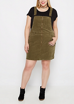 Plus Olive Corduroy Skirtall