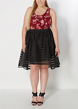 Plus Black Striped Organza Skirt