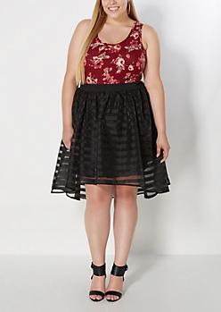 Plus Black Striped Organza Skirt