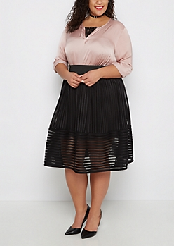 Plus Netted Stripe Gathered Skirt