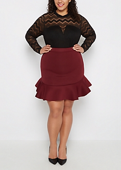 Plus Ruffled Hem Scuba Bodycon Skirt