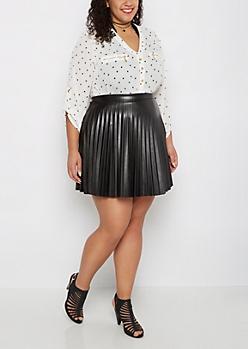 Plus Vegan Leather Pleated Skirt