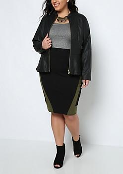Plus Black & Olive Pencil Skirt