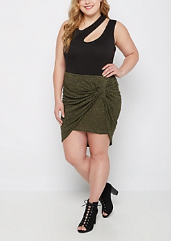 Plus Olive Ribbed Knit Knotted Skirt
