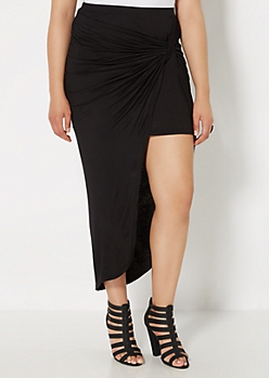 Plus Black Twisted Knot Midi Skirt