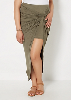 Plus Olive Twisted Knot Midi Skirt
