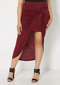 Plus Burgundy Twisted Knot Midi Skirt