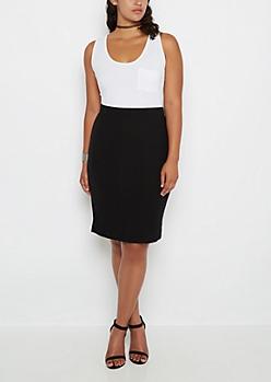 Plus Black Ribbed Midi Skirt
