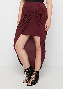 Plus Burgundy Knotted Front Midi Skirt