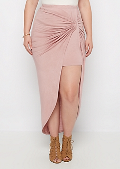 Plus Pink Knotted Front Midi Skirt
