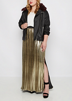 Plus Golden Pleated Maxi Skirt