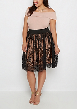 Plus Black Rose Lace Smocked Skirt