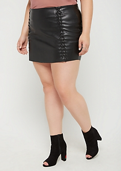 Plus Lace Up Faux Leather Mini Skirt