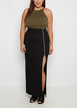 Plus Zip Slit Maxi Skirt