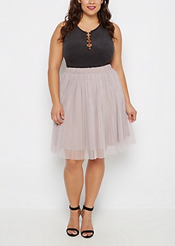 Plus Lavender Tulle Pleated Skirt
