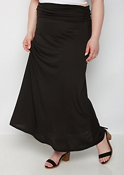 Plus Black Knit Maxi Skirt