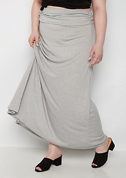 Plus Heather Gray Knit Maxi Skirt