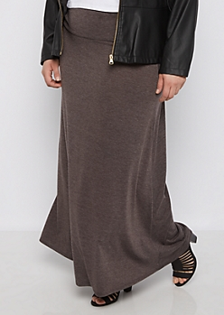 Plus Charcoal Gray Knit Maxi Skirt