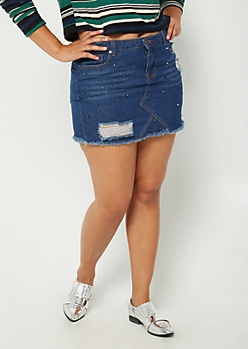 Plus Destroyed & Studded Jean Mini Skirt