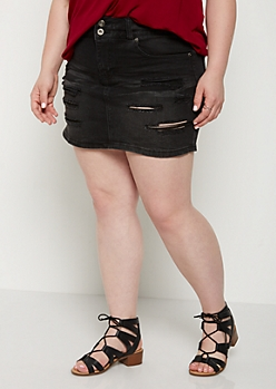 Plus Black Vintage Ripped Jean Skirt