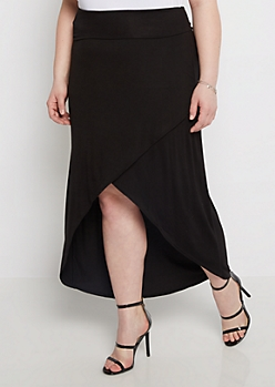 Plus Black Jersey Knit Tulip Skirt