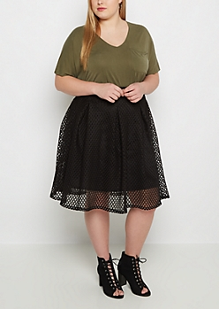 Plus Black Mesh Pleated Skirt