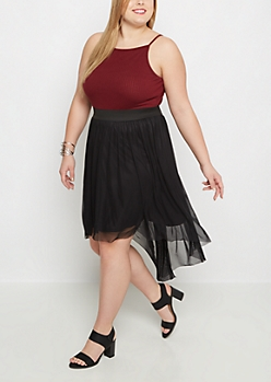 Plus Tulle High-Low Skirt