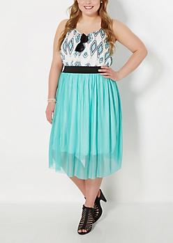 Plus Teal Tulle Ballerina Skirt