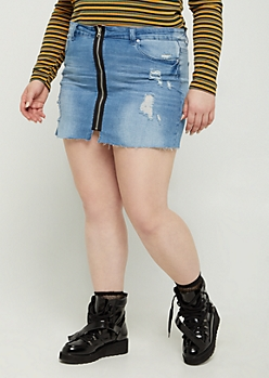 Plus Distressed Zip Down Jean Skirt