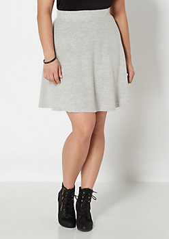 Plus Heather Gray Hacci Skater Skirt