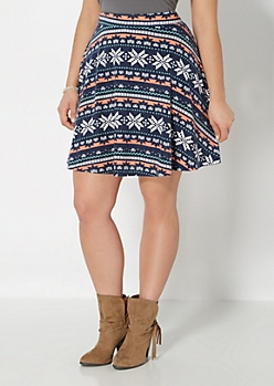 Plus Fair Isle Hacci Skater Skirt