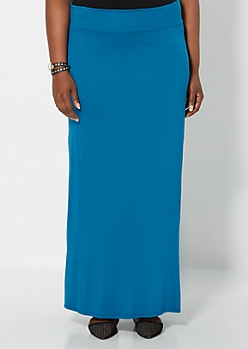 Plus Teal Knit Maxi Skirt
