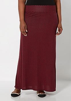 Plus Burgundy & Black Chevron Maxi Skirt