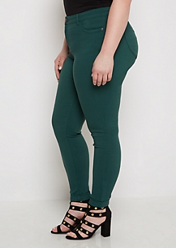 Plus Dark Teal Better Butt Cuffed Jegging