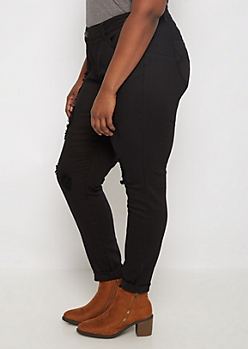 Plus Black Better Butt Distressed Jegging