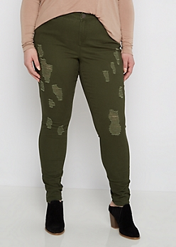 Plus Dark Olive Ripped Twill Jegging