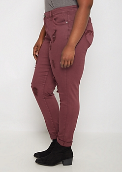 Plus Burgundy Better Butt Distressed Jegging