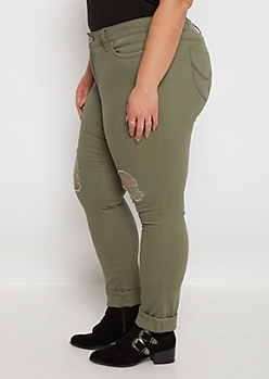 Plus Better Butt Olive Torn Jegging