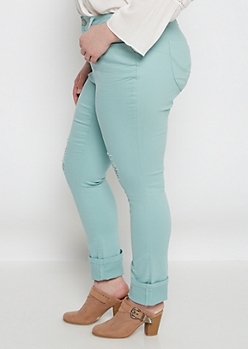 Plus Better Butt Mint Torn Jegging