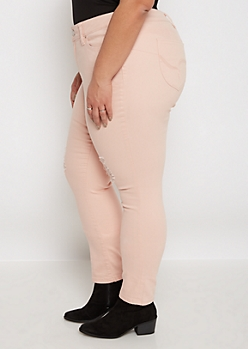 Plus Better Butt Light Coral Torn Jegging