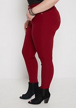 Plus Burgundy Better Butt Twill Skinny Pant