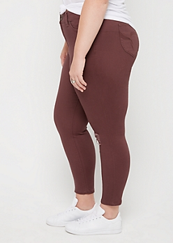 Plus Plum Distressed High Rise Better Butt Skinny Pant