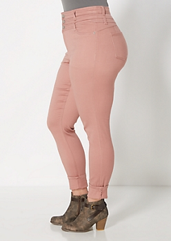 Plus Pink Brushed High-Waist Jegging
