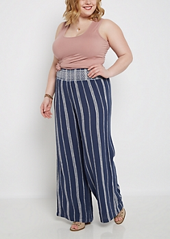 Plus Striped Woven Linen Palazzo Pant