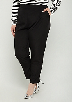 Plus Black Woven Tapered Pant