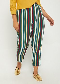 Plus Striped Woven Tapered Pant